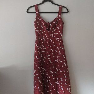 Red floral knotted button up dress